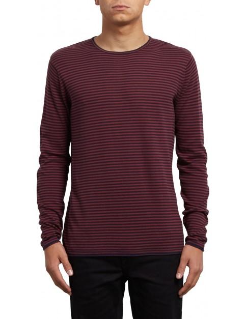 Volcom Harweird Stripe Sweatshirt in Crimson