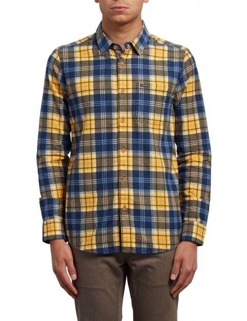 Volcom Hayden Long Sleeve Shirt in Tangerine