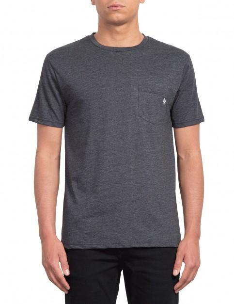 Volcom Heather Pocket Short Sleeve T-Shirt in Heather Black