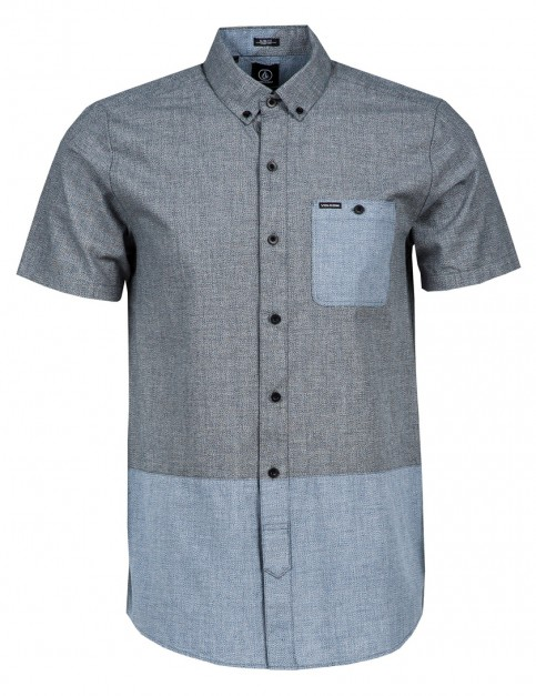 Volcom Holstein Strp Short Sleeve Shirt in Navy