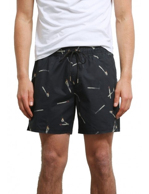 Volcom Hopbine 16 inch Mid Length Boardshorts in Black