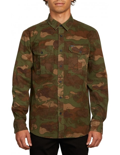 Volcom Huckster Long Sleeve Shirt in Army