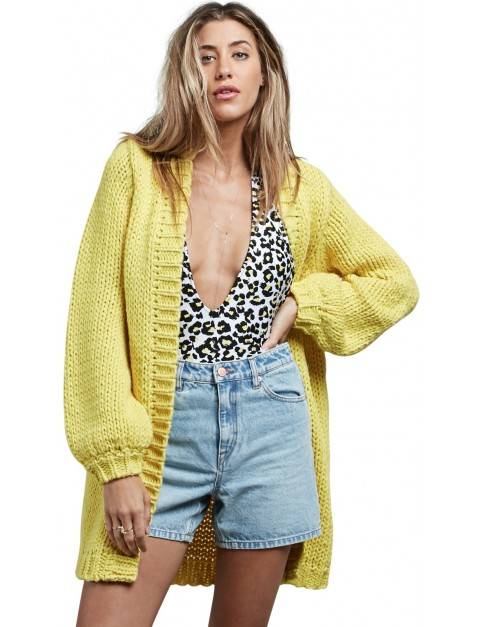 Volcom Knitastic Cardigan Sweatshirt in Citron