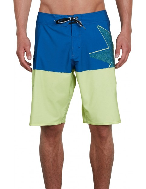 Volcom Lido Block Mod 21 Mid Length Boardshorts in Shadow Lime