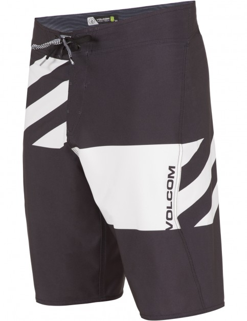 Volcom Lido Block Mod Mid Length Boardshorts in Black White