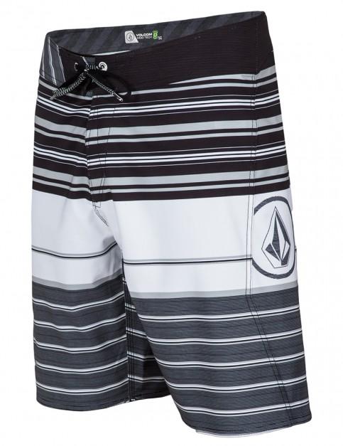 White Volcom Lido Liner Mod Mid Length Board Shorts