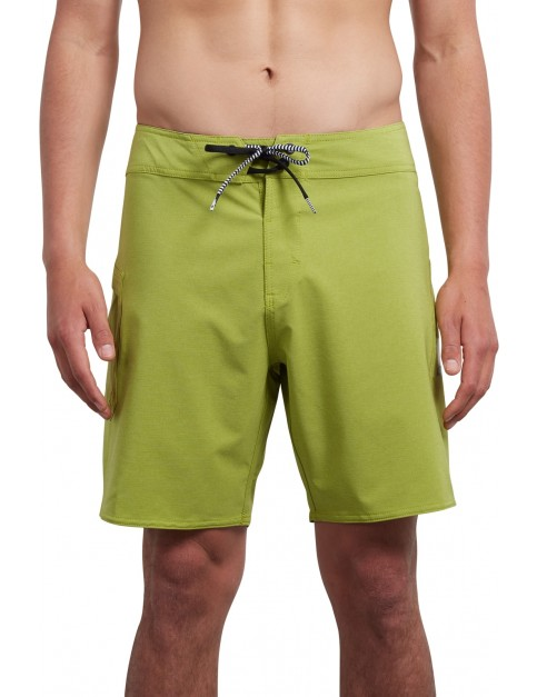 Volcom Lido Solid Mod 18 Mid Length Boardshorts in Thyme Green