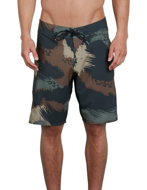 Volcom Lido Solid Mod 20 Mid Length Boardshorts in Military