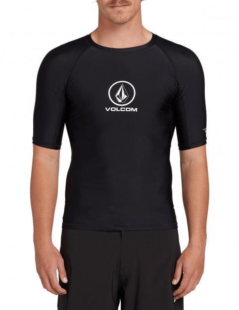 Volcom Lido Solid S/S Short Sleeve Rash Vest in Black