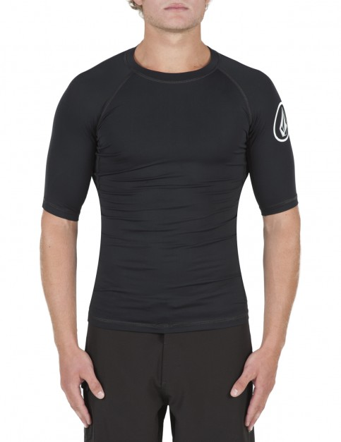 Volcom Lido Solids Short Sleeve Rash Vest in Black