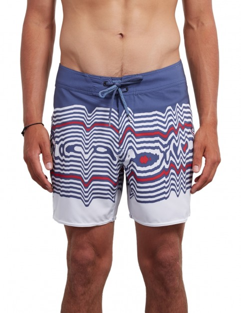 Volcom Lido Vibes Mod 16 inch Mid Length Boardshorts in Smokey Blue