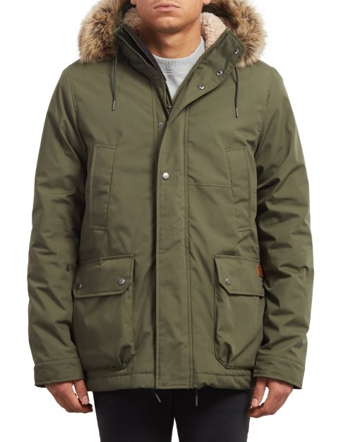 Volcom Lidward Parka Jacket in Military