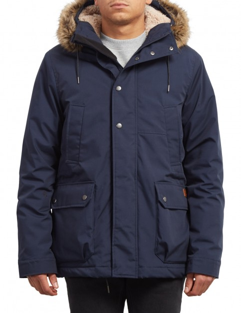 Volcom Lidward Parka Jacket in Navy