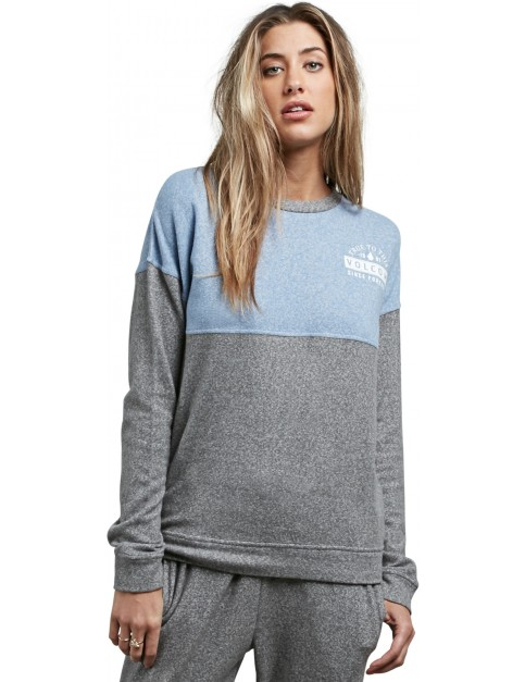 Volcom Lil Crew Mid Layer Fleece in Charcoal Grey