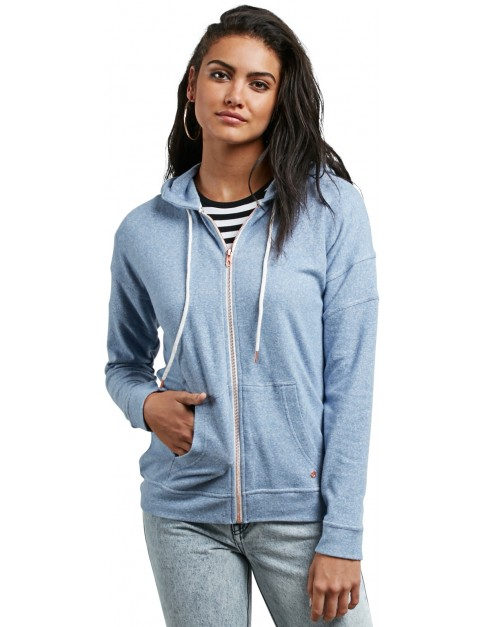 Volcom Lil Zip Zipped Hoody in Washed Blue
