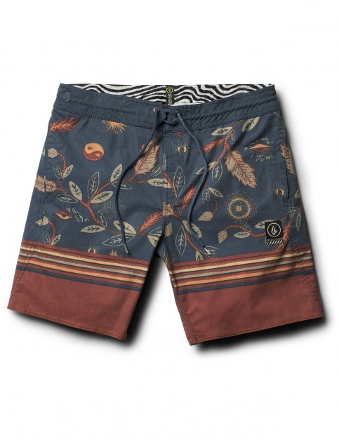Volcom Lucid Stoney 18 inch Mid Length Boardshorts in Deep Blue