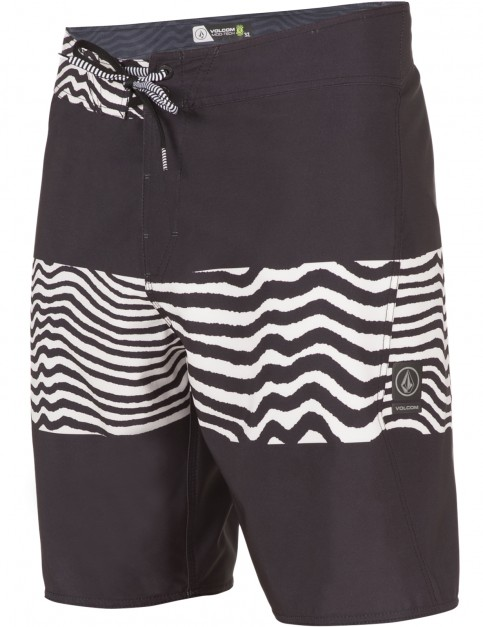 Volcom Macaw Mod Mid Length Boardshorts in Black White