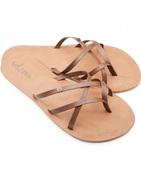 Volcom New School Flip Flops in Brown