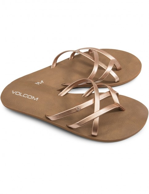 Volcom New School Flip Flops in Rose Gold