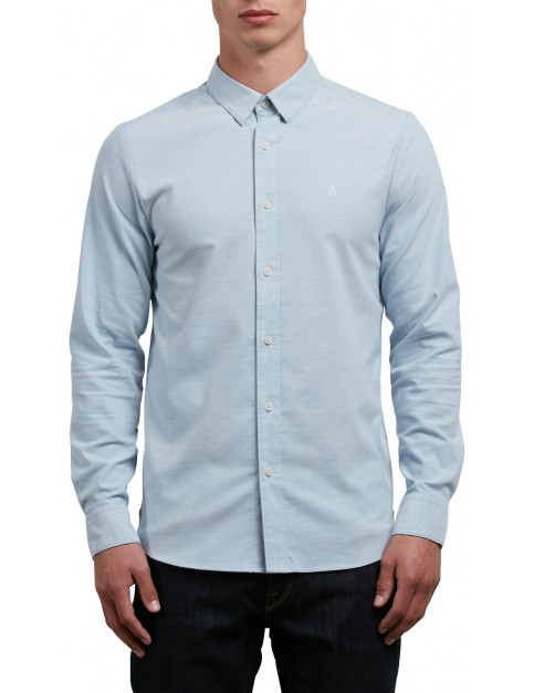 Volcom Oxford Stretch Long Sleeve Shirt in Wrecked Indigo