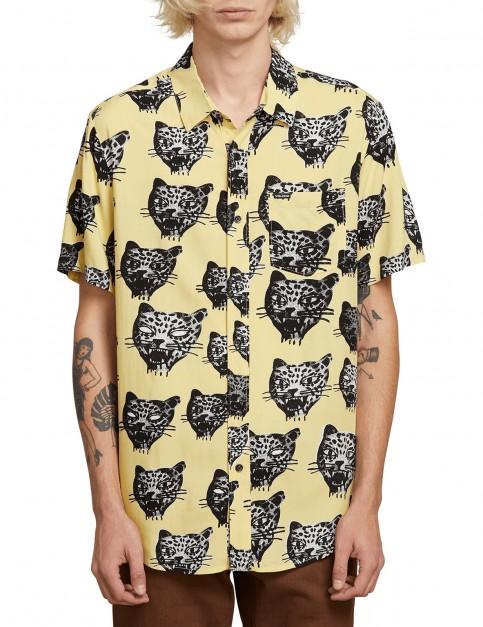 Volcom Ozzie Cat S/S Short Sleeve Shirt in Lime
