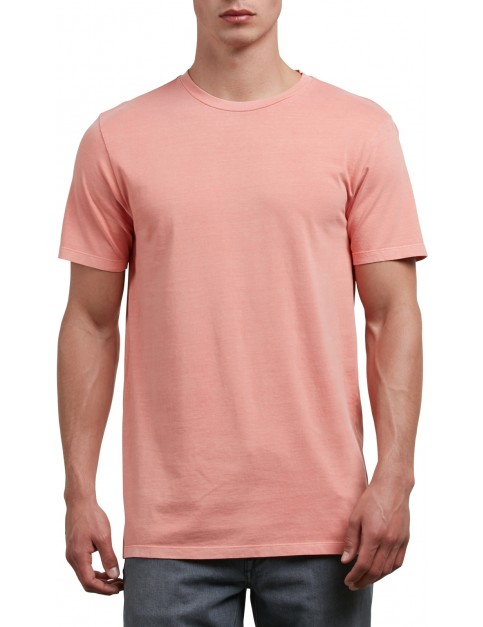 Volcom Pale Wash Solid Short Sleeve T-Shirt in Salmon
