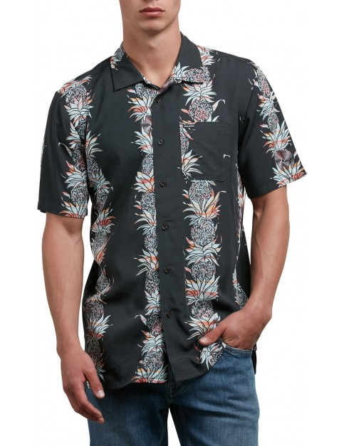 Volcom Palm Glitch Short Sleeve Shirt in Stealth
