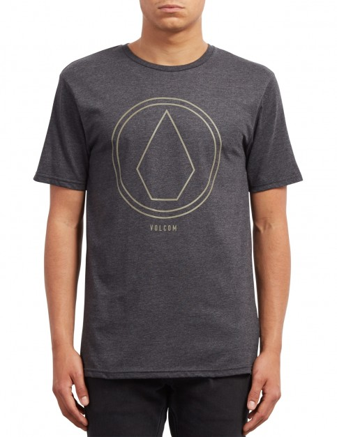 Volcom Pinline Stone Heather Short Sleeve T-Shirt in Heather Black