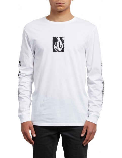 Volcom Pixel Stone Long Sleeve T-Shirt in White