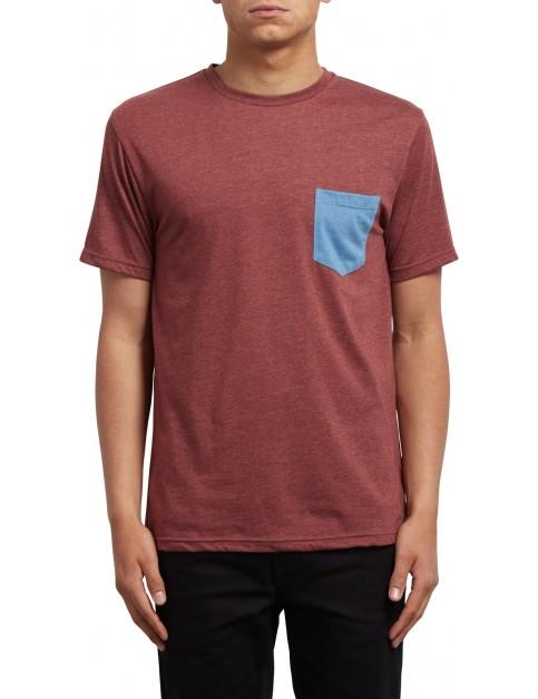 Volcom Pocket Short Sleeve T-Shirt in Crimson