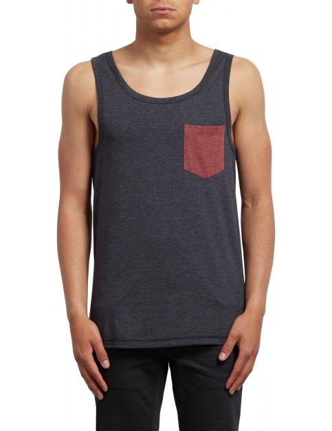 Volcom Pocket Sleeveless T-Shirt in Heather Black