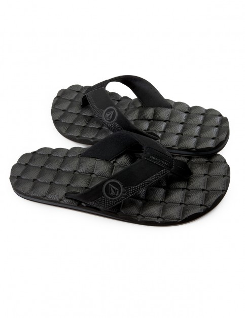 Volcom Recliner Flip Flops in Black Destructo