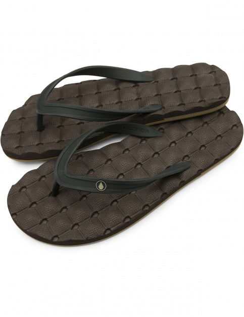 Volcom Recliner Flip Flops in Brown Combo