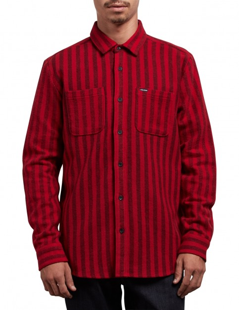 Volcom Shader Long Sleeve Shirt in Engine Red