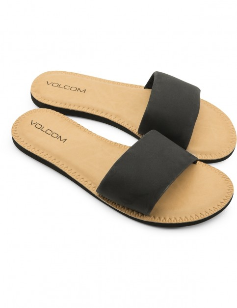 Volcom Simple Slide Flip Flops in Black