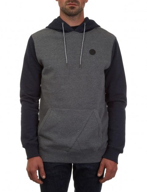 Volcom Single Stone Colour Block Pullover Hoody in Dark Grey