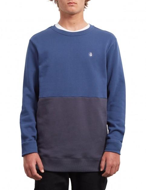 Volcom Single Stone Div Crew Sweatshirt in Matured Blue
