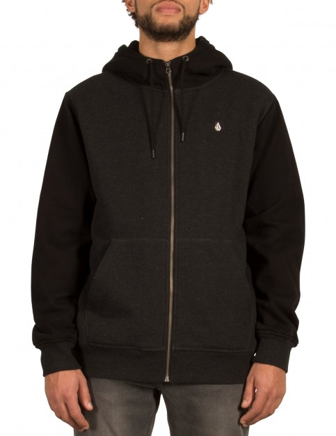 Volcom Single Stone Lined Zipped Hoody in Asphalt Black