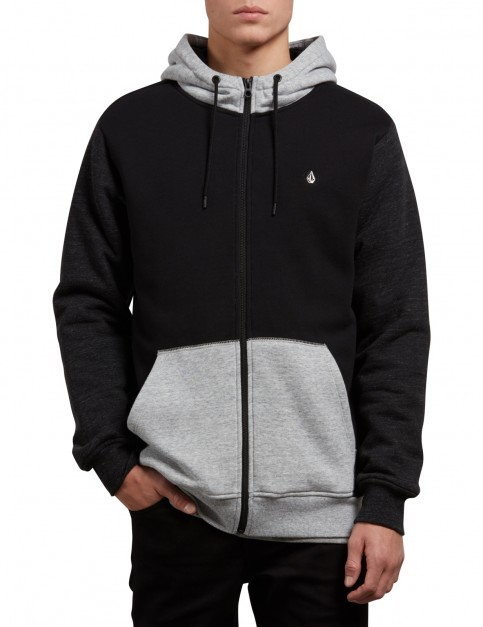 Volcom Single Stone Lined Zipped Hoody in Black Combo
