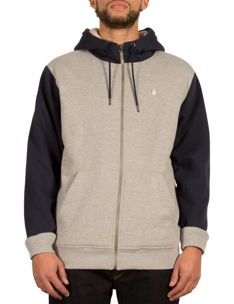 Volcom Single Stone Lined Zipped Hoody in Grey