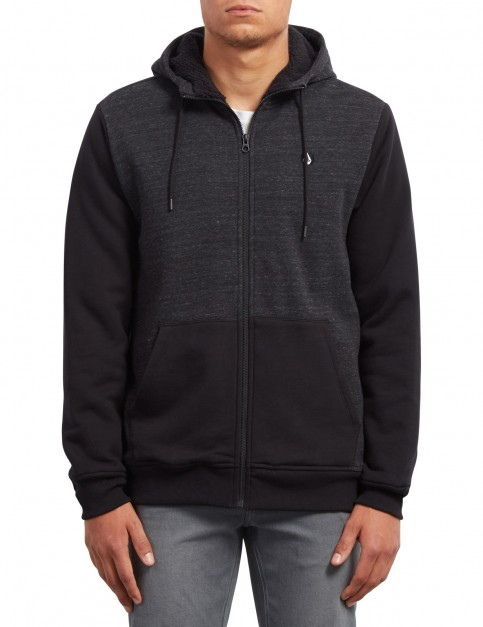 Volcom Single Stone Lined Zipped Hoody in Sulfur Black