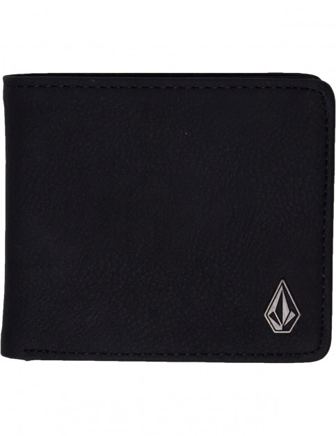 Volcom Slim Stone Faux Leather Wallet in Black