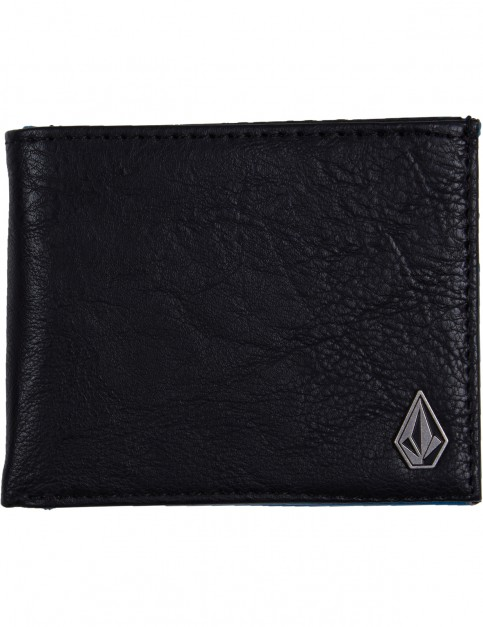 Volcom Slim Stone Faux Leather Wallet in Deep Water