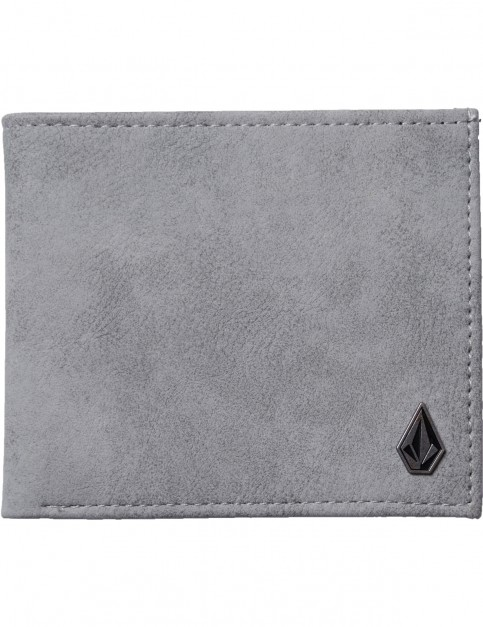 Volcom Slim Stone Faux Leather Wallet in Grey