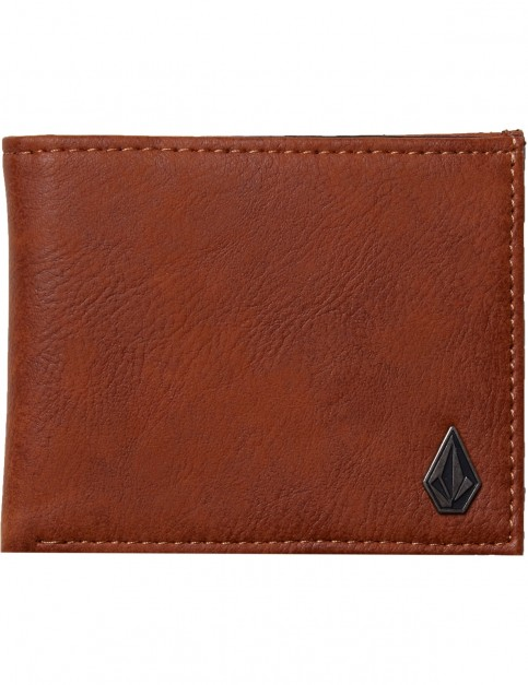 Volcom Slim Stone Faux Leather Wallet in Hazelnut