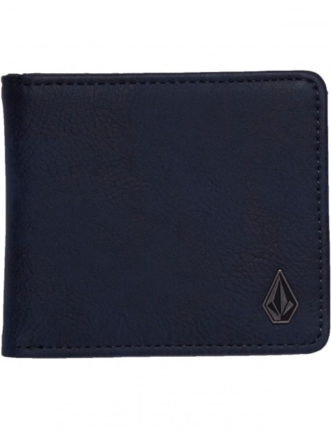 Volcom Slim Stone Faux Leather Wallet in Midnight blue