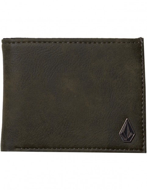 Volcom Slim Stone Faux Leather Wallet in Military