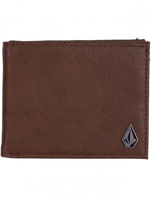 Volcom Slim Stone Faux Leather Wallet in Mocha