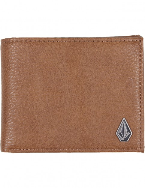 Volcom Slim Stone Pu Wallet Faux Leather Wallet in Mocha