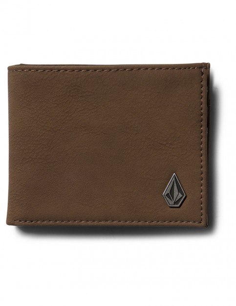 Mocha Volcom Slimstone Pu Faux Leather Wallet
